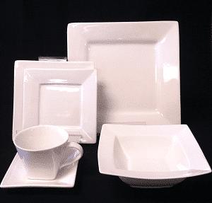 Square White China