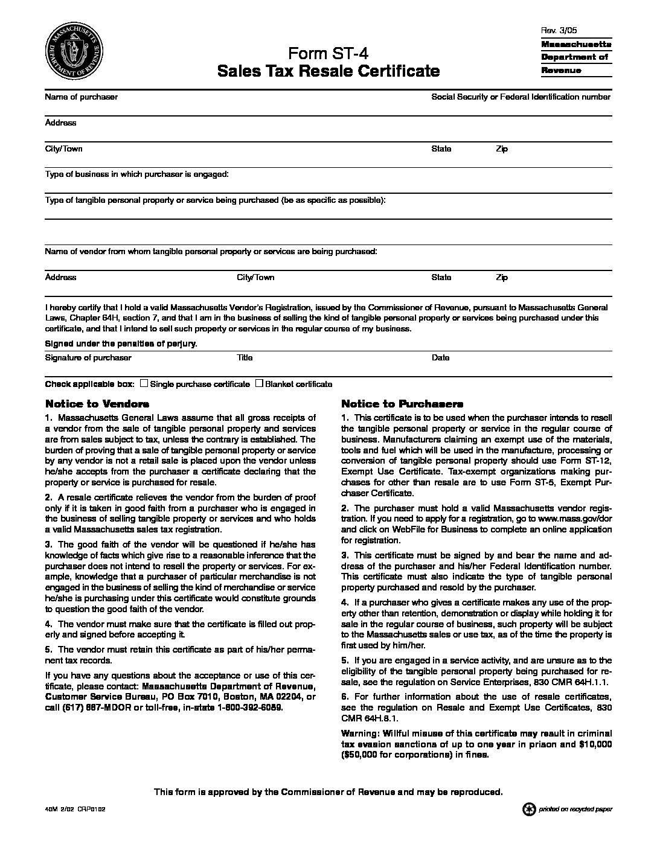 Mass. Sales Tax Resale Certificate (ST-4)